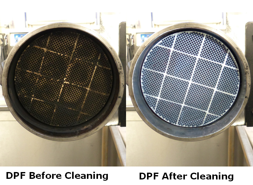 DPF before and after cleaning